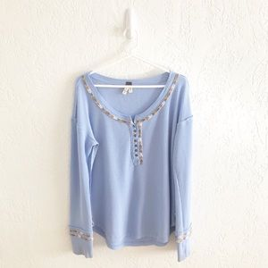 We the Free Rainbow Thermal Henley Top Blue XL